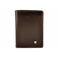 Pionowy skórzany portfel męski marki Peterson, brązowy, RFID