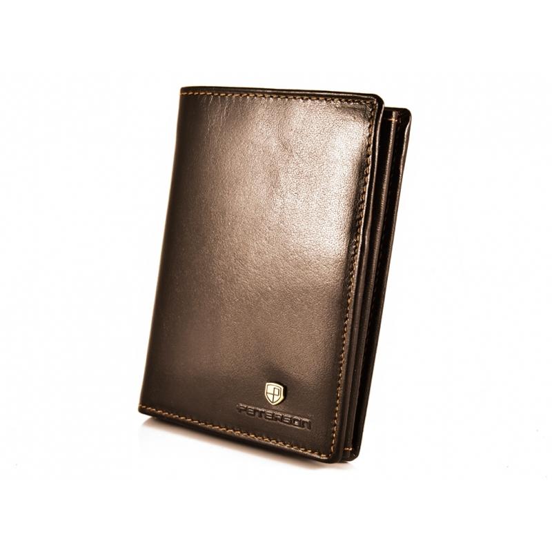 bfabf0b4f0c1fe Pionowy skórzany portfel męski marki Peterson, brązowy, RFID