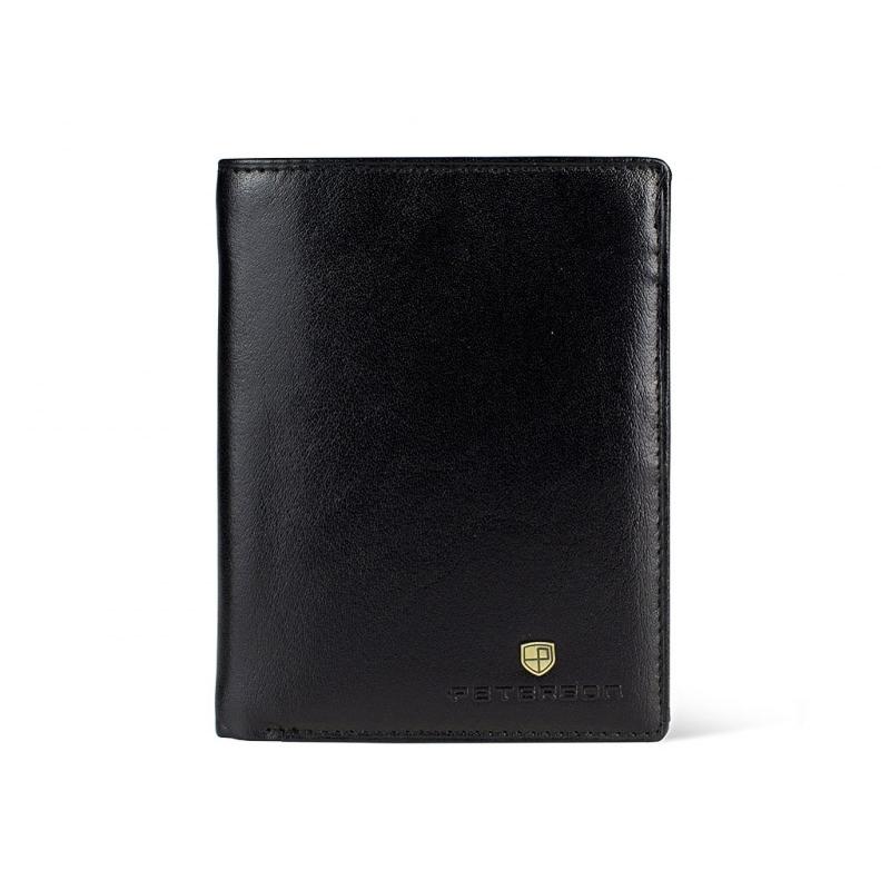 0d536cee8040c4 Pionowy skórzany portfel męski marki Peterson, czarny, RFID