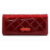 Długi portfel damski Peterson RFID, czerwony, lakierowany, pikowany