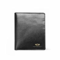 Pionowy skórzany portfel męski marki Peterson, czarny, RFID