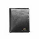 Męski pionowy skórzany portfel marki Peterson, czarny, RFID