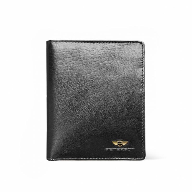 68412efbe702b2 Męski pionowy skórzany portfel marki Peterson, czarny, RFID