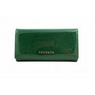 Klasyczny portfel damski Peterson, zielony, lakierowany