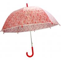 Głęboka przezroczysta automatyczna parasolka w czerwone serduszka