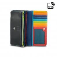 Skórzany portfel damski marki DuDu®, RFID, czarny + kolorowy środek