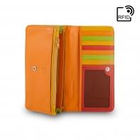 Skórzany portfel damski marki DuDu®, czerwony + zielony