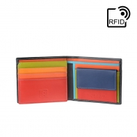 Skórzany mały portfel męski marki DuDu®, RFID, czarny z kolorowym środkiem