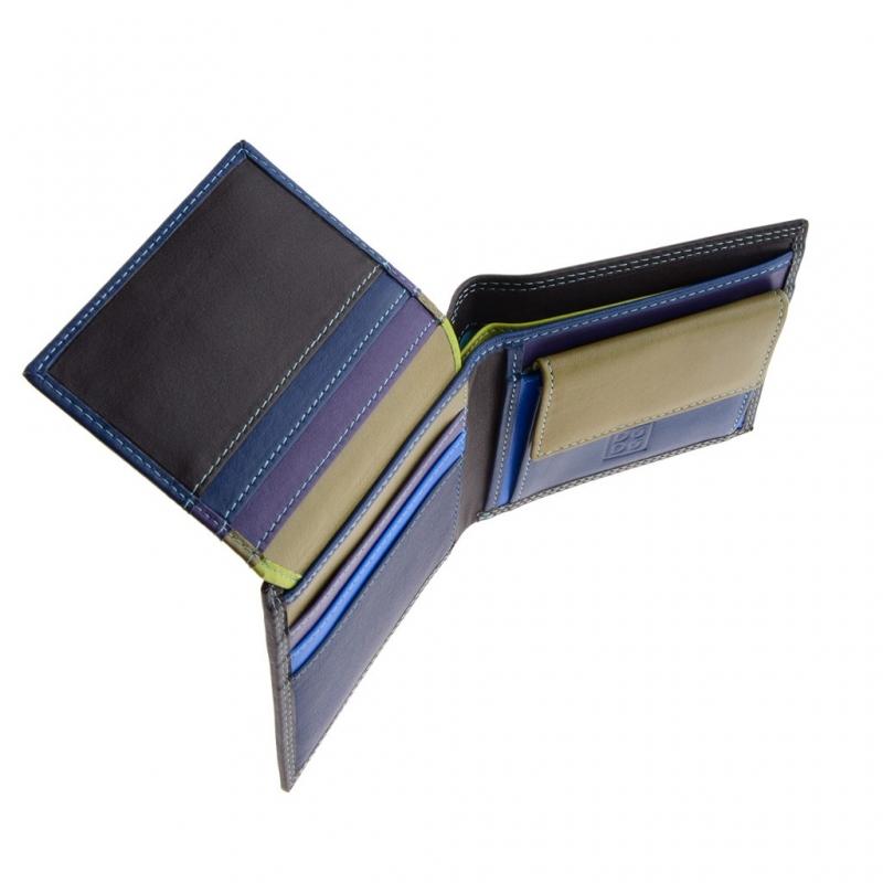 9428d87c4d332 Skórzany mały portfel męski marki DuDu®, RFID, brązowy z kolorowym środkiem