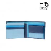 Skórzany mały portfel męski marki DuDu®, RFID, niebieski z kolorowym środkiem