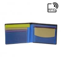 Skórzany portfel męski marki DuDu®, RFID, brązowy z kolorowym środkiem