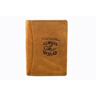Super wyposażony portfel męski Always Wild ze skóry nubukowej - brąz