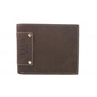 Poziomy portfel męski Always Wild ze skóry nubukowej - ciemny brąz