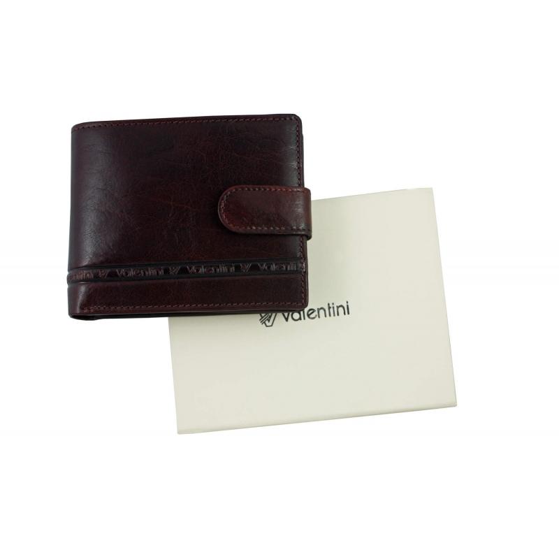 7708d97721152 Męski poziomy skórzany portfel Valentini z zapięciem, brąz