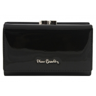 Skórzana lakierowana portmonetka Pierre Cardin w kolorze czarnym