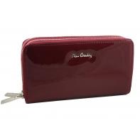 Skórzany lakierowany portfel typu podwójna saszetka Pierre Cardin w kolorze ciemno czerwonym