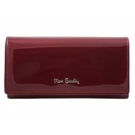 Skórzany lakierowany portfel Pierre Cardin w kolorze ciemno czerwonym