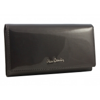Skórzany lakierowany portfel Pierre Cardin w kolorze szarym