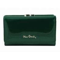 Skórzana lakierowana portmonetka Pierre Cardin w kolorze zielonym