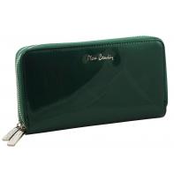 Skórzany lakierowany portfel typu podwójna saszetka Pierre Cardin w kolorze zielonym