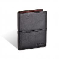 Męski pionowy skórzany portfel typu banknotówka Valentini, czarny
