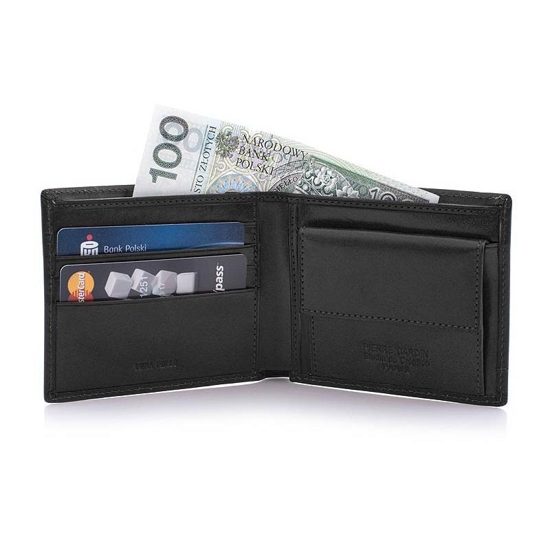 d12bc06dca301 Portfel męski Pierre Cardin RFID, skórzany, czarny, mały