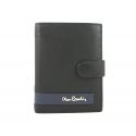 Męski portfel Pierre Cardin RFID ze skóry, czarny z niebieską wstawką