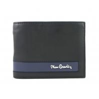 Portfel męski Pierre Cardin RFID ze skóry naturalnej czarny z niebieską wstawką