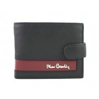 Mały portfel męski Pierre Cardin RFID ze skóry naturalnej czarny z bordową wstawką