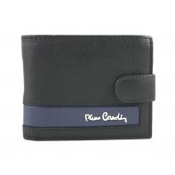 Mały portfel męski Pierre Cardin RFID ze skóry naturalnej czarny z niebieską wstawką