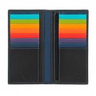 Skórzany portfel damski typu etui na karty marki DuDu®, czarny + kolorowy środek