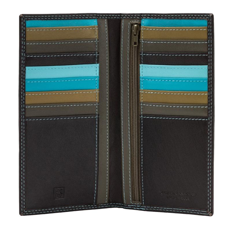 cf225d3cc5dcc Skórzany portfel damski typu etui na karty marki DuDu®, brązowy + kolorowy  środek