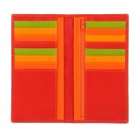 Skórzany portfel damski typu etui na karty marki DuDu®, czerwony+ kolorowy środek