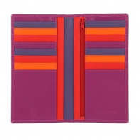 Skórzany portfel damski typu etui na karty marki DuDu®, fuksja + kolorowy środek