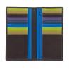 Skórzany portfel damski typu etui na karty marki DuDu®, brązowy + kolorowy środek