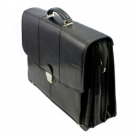 Duża, trzykomorowa teczka ze skóry naturalnej, czarna, na laptopa + mini biuro, z paskiem