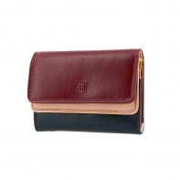 Skórzany mały portfel damski DuDu®, 534-1160 burgundowy