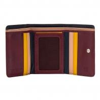 Skórzany mały portfel damski marki DuDu®, burgund + żółty