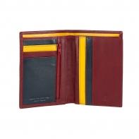 Cienki skórzany portfel damski marki DuDu®, burgund + żółty