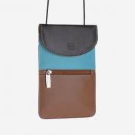 Skórzany portfel damski turystyczny na szyje marki DuDu®, ciemny brąz