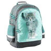 Plecak szkolny dla dziewczynki Paso, miętowy z kotkiem