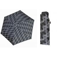Bardzo lekka wytrzymała płaska parasolka Doppler, czarna w okręgi