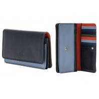 Skórzany portfel damski saszetka DuDu®, granatowy + pomarańczowy