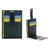 Skórzany portfel na karty marki DuDu®, zielony + niebieski