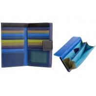 Bardzo duży skórzany portfel damski DuDu®, 534-1186 brąz + granat