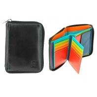 Skórzany portfel męski z suwakiem DuDu®, 534-1232 czarny + kolorowy