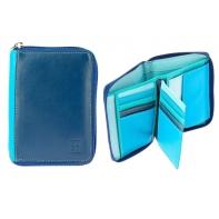 Skórzany portfel męski z suwakiem DuDu®, 534-1232 granat + niebieski
