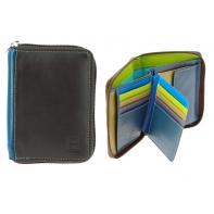 Skórzany portfel męski z suwakiem DuDu®, 534-1232 brąz + niebieski