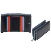 Skórzany mały portfel damski marki DuDu®, granat + pomarańcz