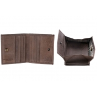 Skórzany mały portfel męski marki DuDu® Vintage, ciemny brąz